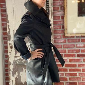 Tahari Medium Satin Shine Black Coat